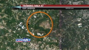 Training Area 47, the site of Agent Orange testing at Fort Gordon, is at the center of the orange circle. A large dead zone is visible to the right. (November 18, 2010 / WRDW-TV/Google Earth)
