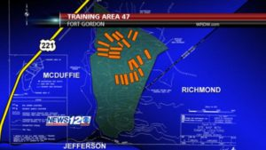"This stylized map (not to scale) shows the location of Fort Gordon's Training Area 47 in relation to Richmond, McDuffie, and Jefferson counties. Apparent ""defoliant testing areas"" are shown in orange. A 1995 sample testing map from the US Army Corps of Engineers is overlaid. (November 18, 2010 / WRDW-TV)"