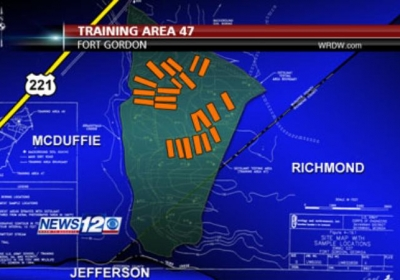 This stylized map (not to scale) shows the location of Fort Gordon's Training Area 47 in relation to Richmond, McDuffie, and Jefferson counties. Apparent